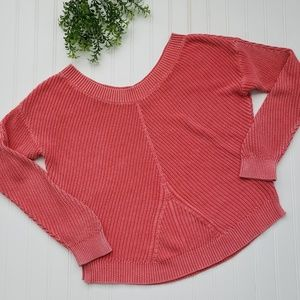Aerie Coral Red Chunky Knit Sweater sz Medium